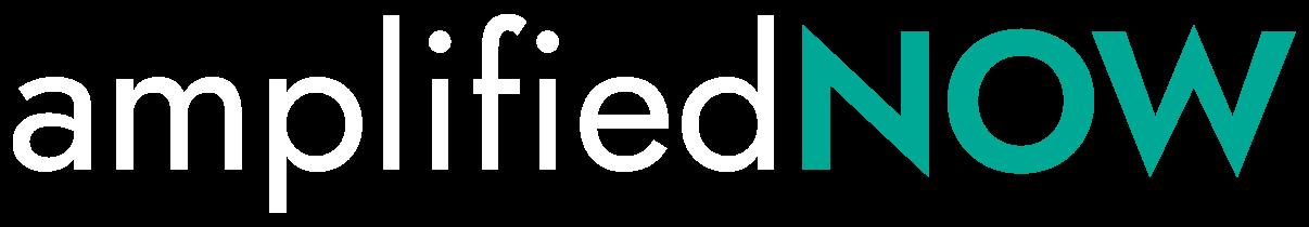 white + teal amplifiednow logo